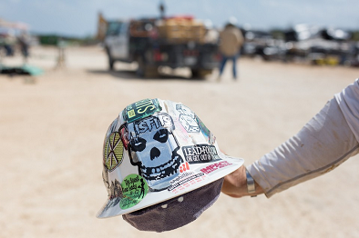 Image of Hard Hat Covered with Stickers