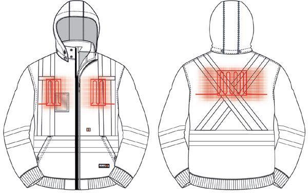 Image showing heating zones on hoodie