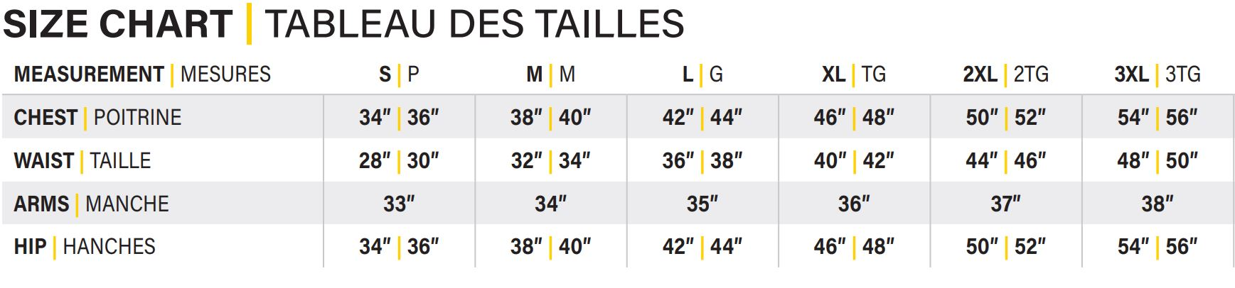 Size Chart for heated hi-vis hoodies