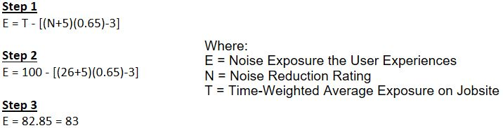 breakdown of math needed to determine noise level experienced by users using earmuffs