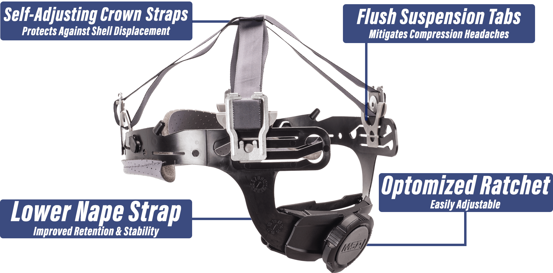 MSA Fas-Trac® III suspension provides innovative comfort, breathability, and full customization for all shapes and sizes