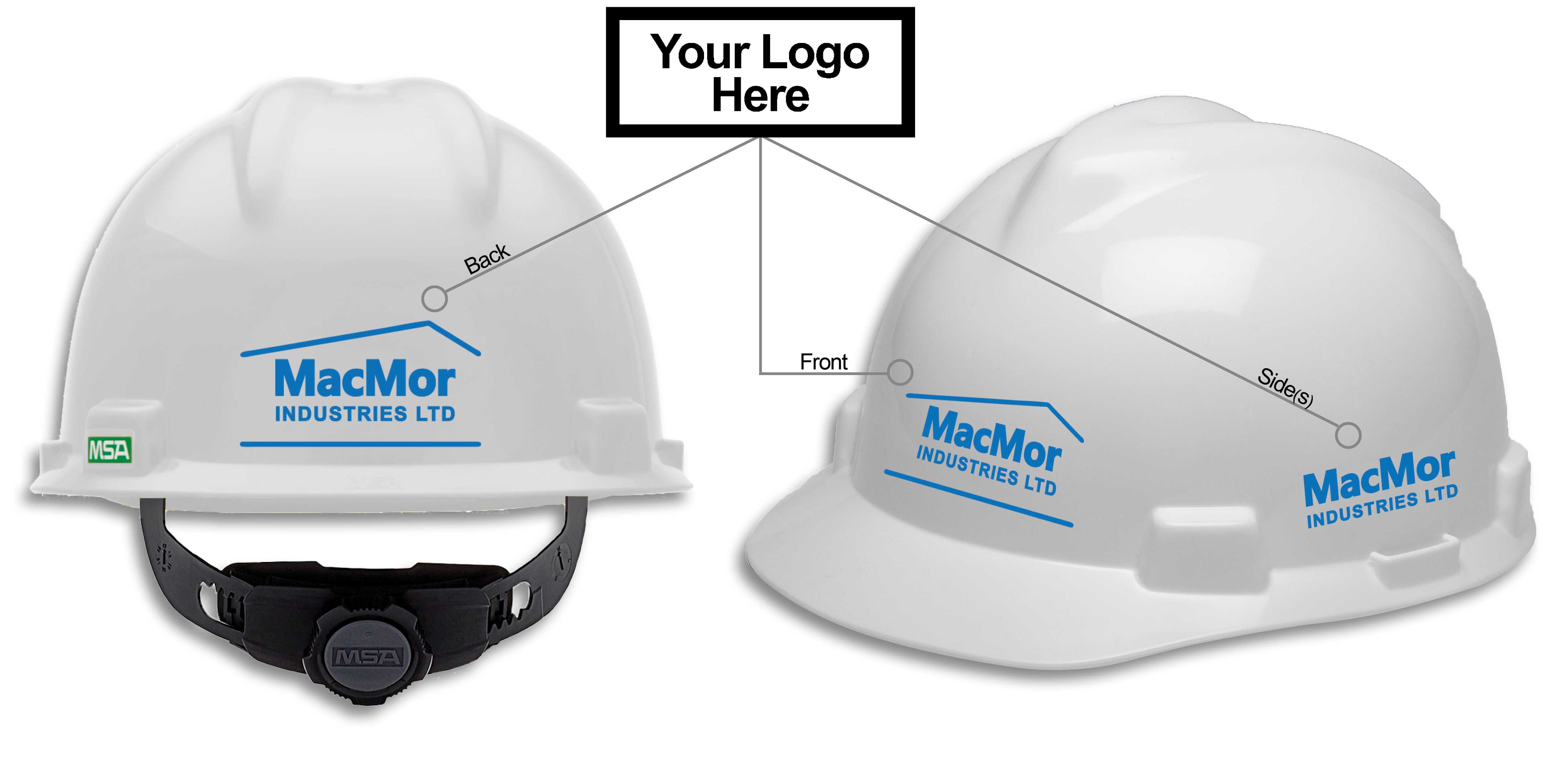 This image shows how MSA's hard hat logo promotion is customizable. Logoing available on the front back and both sides!
