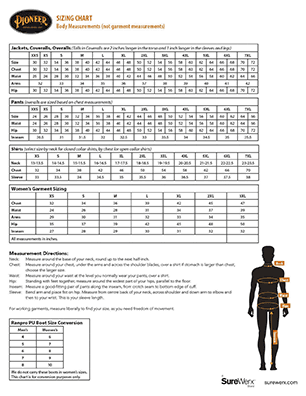 Open PDF of the SureWerx Sizing Chart