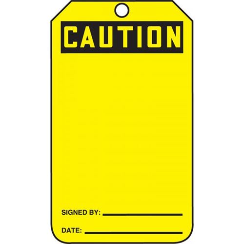 Picture of Accuform Caution Safety Tag - Blank Cardstock