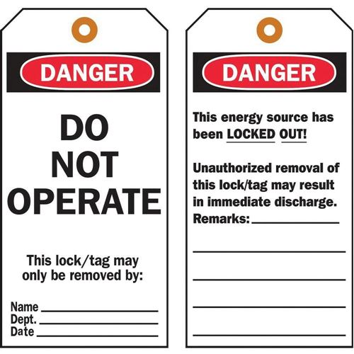 "Picture of Brady ""Danger - Do Not Operate"" Lockout Tags"