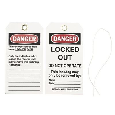 "Picture of Brady ""Danger Locked Out - Do Not Operate"" Lockout Tags"