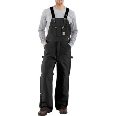 Picture of Carhartt R41 Black Quilt-Lined Duck Zip-To-Thigh Bib Overalls