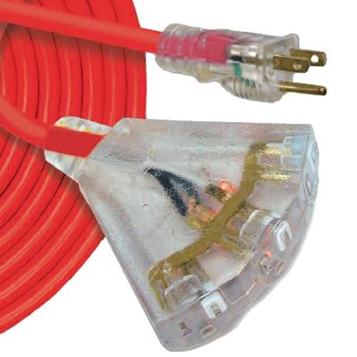 Picture of Southwire Lighted Triple Outlet Cord Adapter - 14/3 Ga x 3'