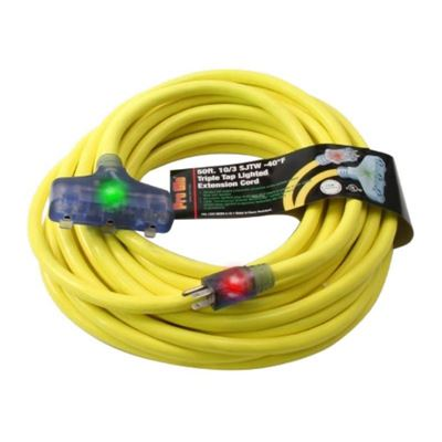 """Picture of Pro Glo® Triple Outlet Extension Cords with """"CGM"""" Technology - 10/3 Ga x 50'"""