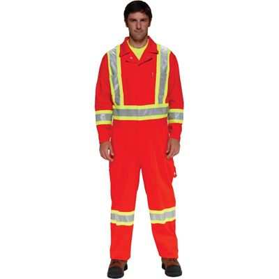 Picture of Ground Force® Style 361GF Orange Premium Poly/Cotton Coverall with Reflective Tape - Size 38T