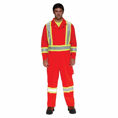 Picture of Stalworth Style 362 Orange Premium Poly/Cotton Coverall with Reflective Tape - Size 38T