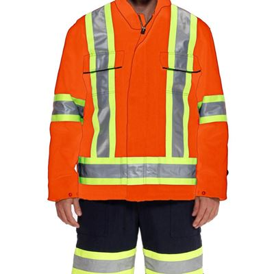 Picture of Ground Force® Style 651GF Orange Standard Insulated Polycotton Parka with Reflective Tape - Medium
