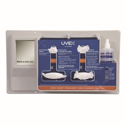 Picture of Uvex Clear® Lens Cleaning Station with 16 oz. Solution, 500 Tissues and Mirror