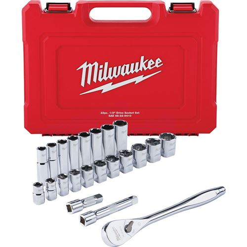 """Picture of Milwaukee® 1/2"""" Drive 22 Piece Ratchet & Socket Set - SAE"""