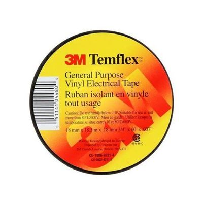 "Picture of 3M Black TEMFLEX Electrical Tape - 3/4"" x 60'"
