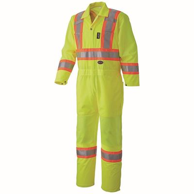 Picture of Pioneer 5999A Hi-Viz Lime Traffic Safety Polyester Coverall - Large