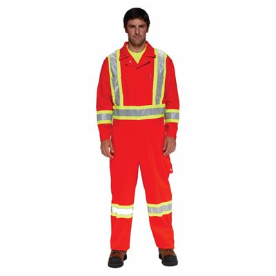 Picture of Stalworth Style 362 Orange Premium Poly/Cotton Coverall with Reflective Tape