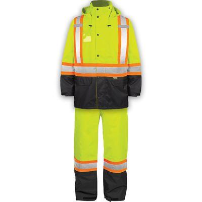 Picture of TERRA® 116250 Hi-Vis Yellow 300D Polyester Rain Suit