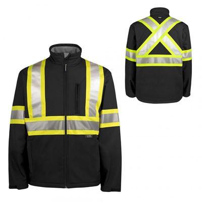 Picture of TERRA® Black Hi-Viz Softshell Jacket with Reflective Tape