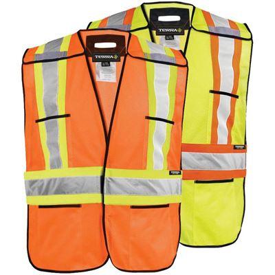 Picture of TERRA® Hi-Vis 5-Point Tear-away Polyester Mesh Safety Vests
