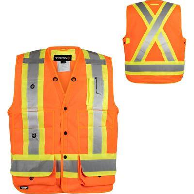Picture of TERRA® Orange Hi-Vis 150D Polyester Surveyor Vest