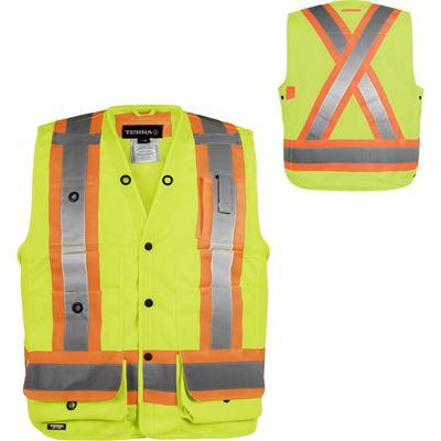 Picture of TERRA® Yellow Hi-Vis 150D Polyester Surveyor Vest