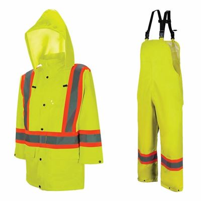Picture of Wasip 980 Series Hi-Viz Green Traffic Rain Suit