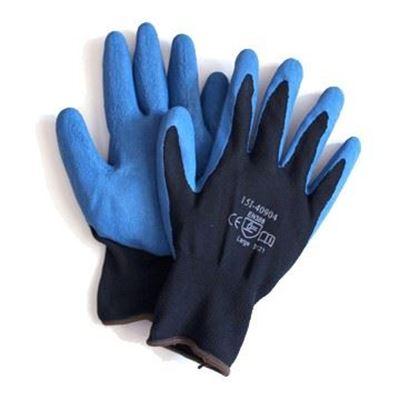 Picture of Wayne Safety Blue Wrinkled Latex Palm Gloves - Size 9