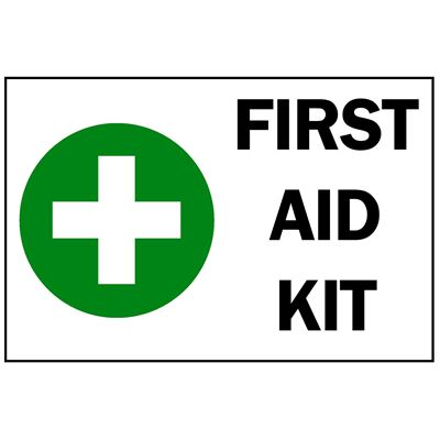 "Picture of First Aid Kit Sign with Cross - 7"" x 10"""